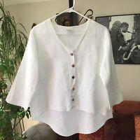 CLICK by Color Me Cotton sz M White Linen Button Front Artsy Hi-Lo Lagenlook Top