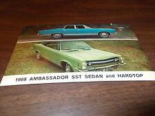 1968 AMC Ambassador SST Hardtop and Sedan Vintage Advertising Postcard