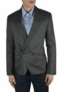 Dolce & Gabbana Men's Gray Silk Striped Double Breasted Blazer Size US 38 IT 48