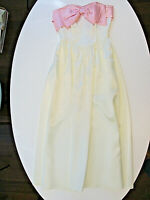 Vtg ROBERTA California Dress Ladies Size 5/6 Ivory Pink Strapless Large Bow