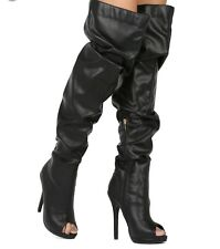 New - Women's Liliana Opus-5A Black Peep Toe Over The Knee Slouchy Boots Size 8