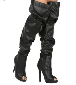 New - Women's Liliana Opus-5A Black Peep Toe Over The Knee Slouchy Boots Size 7