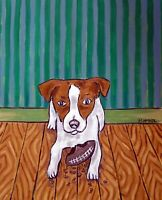 JACK RUSSELL america pop art  abstract 4x6   gift FOOTBALL dog TO GLOSSY PRINT