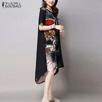 Mode Femme Loisir Coton en Lin Manche Courte Irrégulièr Impression Dresse Robe