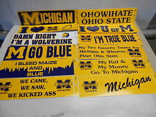 "8 Different Michigan Wolverines Bumper Stickers. Assorted 11-1/2"" x 3"" N420/429"
