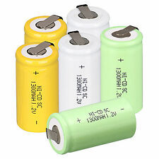 6pcs 1.2V 1300mAh Sub C SC Ni-Cd NICD Rechargeable Battery With Tap 3Color Set