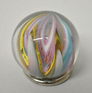 "Sam Hogue Art Glass Marble 2.5"" Pink, Blue, Lavender Copper Flecks"