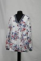 TOMMY HILFIGER FLORAL PEASANT TOP, WHITE, 1X