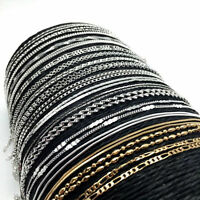 16''-30'' 925 Silver Filled Gold Wave Rolo Curb Figaro Chain Necklace Jewelry