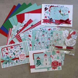 STAMPIN' UP! LET IT SNOW #1 SNOWMAN CHRISTMAS DESIGNER PAPER CARD 22 SHTS 20 PCS