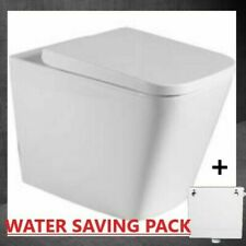 SHORT PROJECTION Back To Wall Pan Square Toilet Modern Soft Close FREE CISTERN