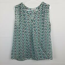 Cabi Sheer Sleeveless V Neck Blouse Top Size M Blue Bird Print