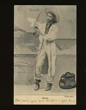 """Postcard Of Miner Holding """"Gold Brick"""" Stung, """"Be Sure You See Before You Buy""""."""