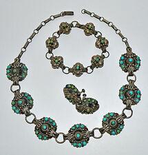 Antique Parure Sterling Silver Turquoise Necklace Bracelet Earrings Set ca 1920s