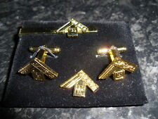 Past Master Cufflink / Tieslide/ lapel pin set, Masonic craft (gold plate)