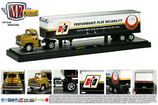 GOLD 1958 CHEVY LCF WITH A HURST ENCLOSED TRAILER M2 MACHINES 1:64 DIECAST MODEL