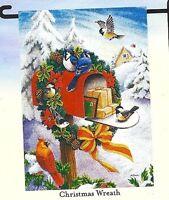 "CHRISTMAS WREATH Hung On Mailbox Birds 12.5"" x 18"" Small Decorative Banner Flag"