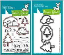 Lawn Fawn Photopolymer Clear Stamp & Die Combo ~ HAPPY TRAILS ~ LF601, LF609