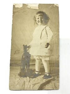 Antique Photograph Girl w/ Wood Pull-Toy Horse CDV Cabinet Card (as found)