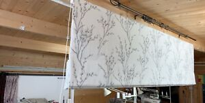 Roman Blind, Laura Ashley Pussy Willow Off White /Steel Fabric  (Made to measure