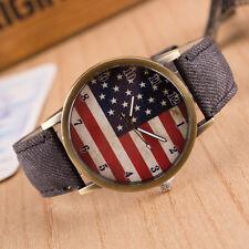 United States USA  Flag Stars and Stripes Quartz  Watch Grey Denim Strap