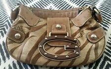 GUESS Brown Rum Jungle Material clutch shoulder Evening  Handbag Bag