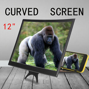 """12"""" inch Mobile Phone Curved Screen Magnifier 3D HD Video Amplifier Stand UK"""