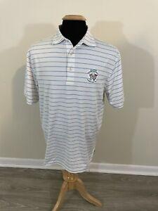 Peter Millar Summer Comfort Polo Shirt Striped Stretch Men's Medium Pinehurst