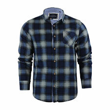 Mens Check Shirt Brave Soul Flannel Brushed Cotton Long Sleeve Casual Top Garfield - Navy / Denim Blue Large