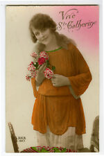 1920 Deco French Fashion BLOND BEAUTY tinted photo postcard