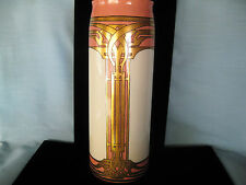 "c1906 LENOX AMERICAN BELLEEK 11 1/4""VASE ARTS & CRAFTS ROSE & GOLD SIGNED HP"