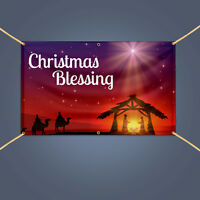 5' X 3' CHRISTMAS BLESSING Banner, Home Party Decor Heavy Duty Vinyl Sign