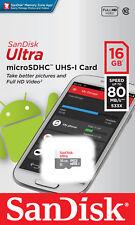 Sandisk 16GB Ultra Micro SD SDHC TF Memory Card 80MBs UHSI Class 10