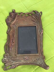 Cast Iron Art Deco Vintage Standing Picture Frame With Glass