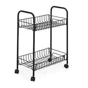 2 Tier Fruit Trolley Basket Rack Kitchen Storage Vegetable Cart With Black Wheel