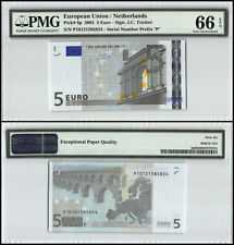 European Union - Netherlands 5 Euro, 2002, P-8p, Prefix P, PMG 66