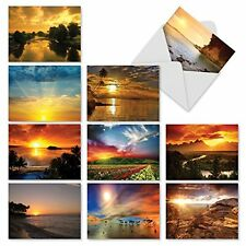 M1740BN Sun Settings: 10 Assorted Blank All-Occasion Note Cards /Envelopes.