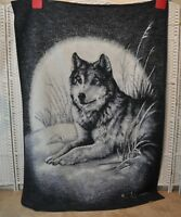 Vtg Biederlack Wolf And Full Moon Gray White Black Blanket Throw 54 x 78 Inches