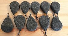 10 x 3 Oz flat pear leads textured coating for carp fishing