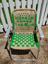 Vintage Folding Aluminum Lawn Chair Macrame