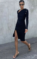 $1700 Versace Viscose Jersey Dress Black W Medusa Heads Studded Sleeve Gorgeous!