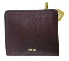 New FOSSIL Tessa Bifold Mini Wallet Snap Close Coin Zip Maroon Purple RFID