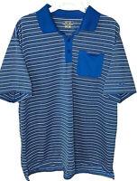 Snake Eyes Dry 18 mens XL polo golf shirt blue gray striped front pocket