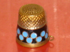 Old Vtg Soviet USSR Russian Silver gilt thimble Enamel Collectible Antique1930's