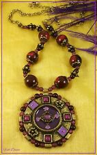 BEAUTIFUL ANTIQUE BRONZE, PURPLE & BORDEAUX PENDANT ON BEADED BRONZE NECKLACE.