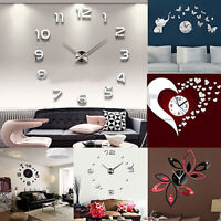 3D DIY WALL CLOCK FASHION MIRROR STICKER LIVING ROOM HOME MODERN DECOR UK ORNATE