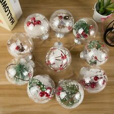 10X Filler Tree Ball Plastic Christmas Decor Pendant Transparent 8cm Green Leaf