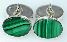 Natural Malachite Mens Sterling SILVER Chain Cufflinks 4 Stones Oval Multi Green
