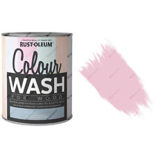 x23 Rust-Oleum Colour Wash Translucent Coloured Wood Stain 750ml Pearl Pink Matt