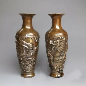 a Pair Chinese Brass Handwork carved Dragon Phoenix Vase w Qianlong Marks